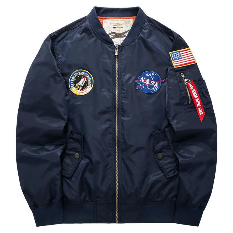 2020 Мужские куртки бомбардировщика Thin Bomber Ma1 Mens Pilot Jacket вышивки Baseball пальто Азиатский оптовой