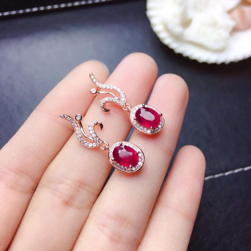 elegant red ruby gemstone stud earrings women silver fine jewelry natural gem 925 sterling silver certificate good color gift