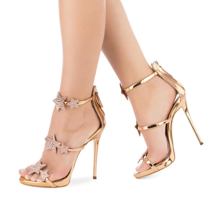 Hot Salse Sexy Fashion Luxury Designer Women Bridal Wedding High Heels Sandals Pointed Toe Rose Gold Rhinestone Prom Party High Heels