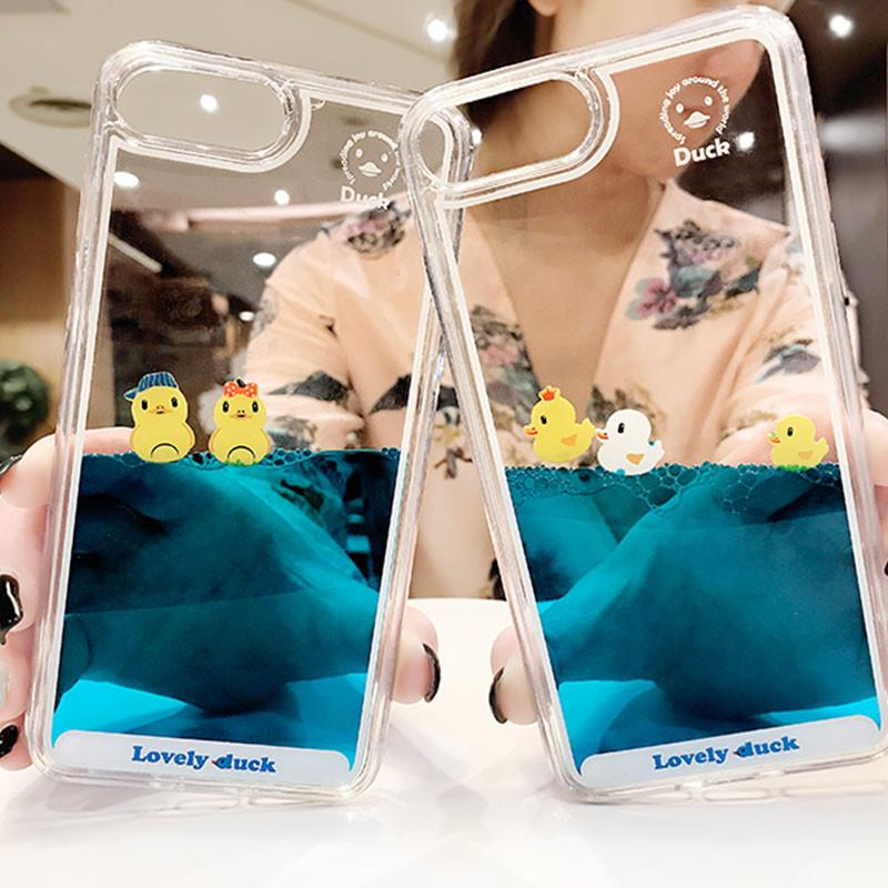 Luxury Cartoon 3D Swimming Duck Animal Dynamic Liquid Quicksand Cover Case For iPhone 11 Pro Max 5 5S 5SE 6 6S 7 8 Plus X XS XR Phone Cases