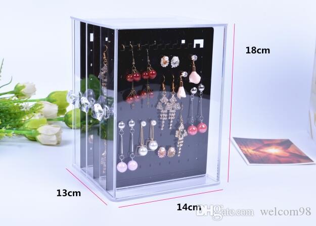 Caja de almacenamiento de estante de exhibición del collar del pendiente de acrílico para el collar del pendiente de la joyería 1pcs / lot DS6 Envío libre