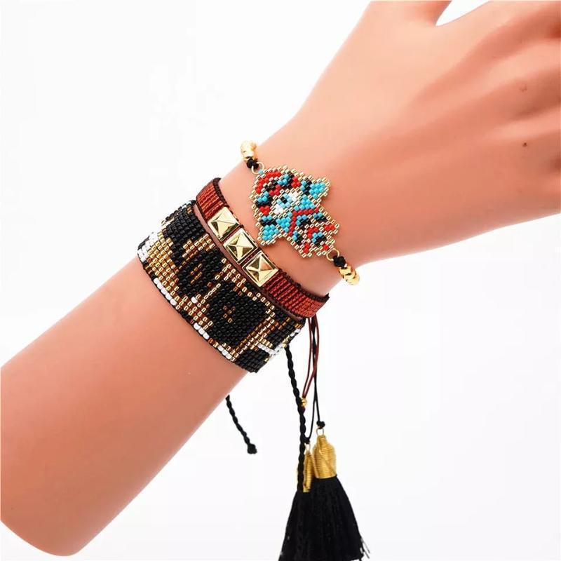 ZHONGVI Миюки бусины браслет женщины кисточкой турецкий сглаз Pulseras Mujer Joyeria сердце браслеты 2020 повязка мексиканские ювелирные изделия