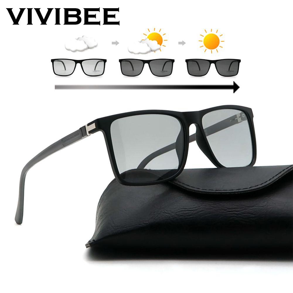 VIVIBEE Homens avançadas fotossensíveis Sunglasses TAC polarizado TR90 leve quadrado Armações de transição Cores condução óculos de sol Y200619