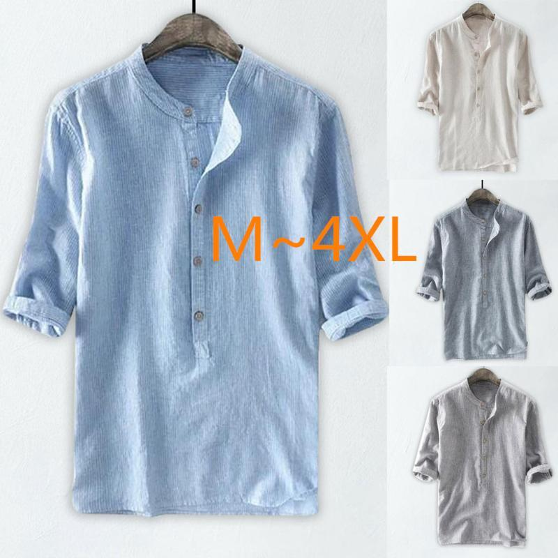 2020 New Men's Casual Shirts Linen Shirt Loose Tops Half Sleeve Tee Shirt Spring Autumn Summer Handsome Male Solid Camisa