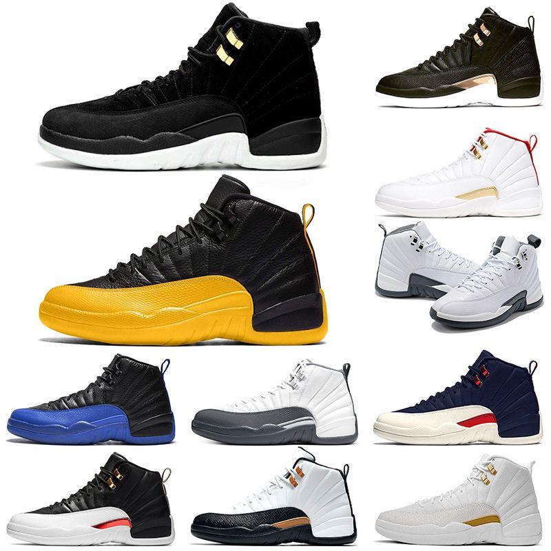 Nike Air Jordan 12 Retro 12 Gris foncé 12s Hommes Chaussures de basket Midnight Black Taxi inverse Mens Athletic Trainer Sport Sneaker Vente en ligne Taille 41-47