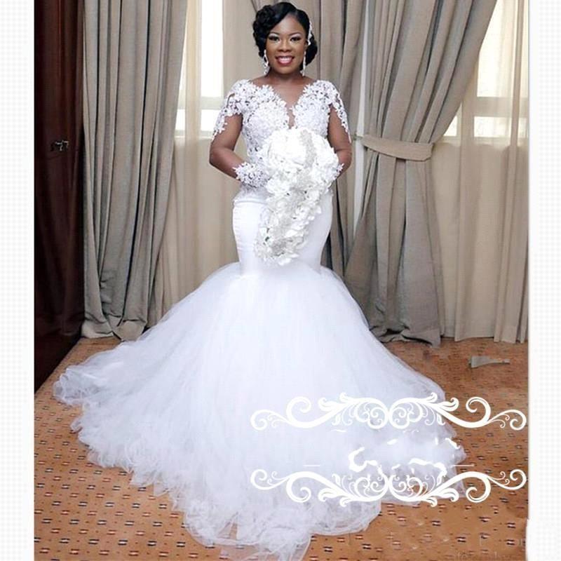 2019 nouvelle dentelle appliques robes de mariée sirène illusion manches longues pure bijou cou robes de mariée élégantes plus la taille