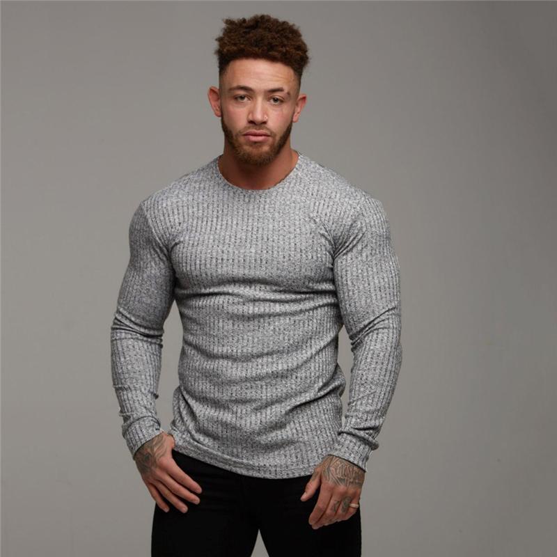 2019 T-shirt degli uomini di modo autunno Maglione O-Collo Slim Fit di Maglieria Uomo manica lunga Pullover magliette degli uomini fitness Pull Homme