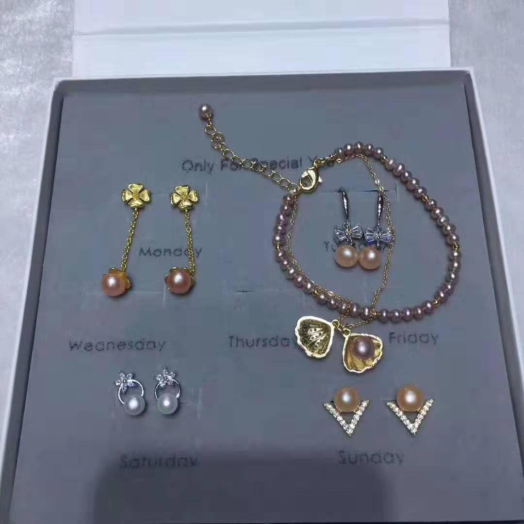 Оптовая Изящных ювелирных изделий костюм 14 К позолоченные серьги браслет кольца пресноводный жемчуг ювелирные изделия с коробкой ювелирных изделий бесплатная доставка