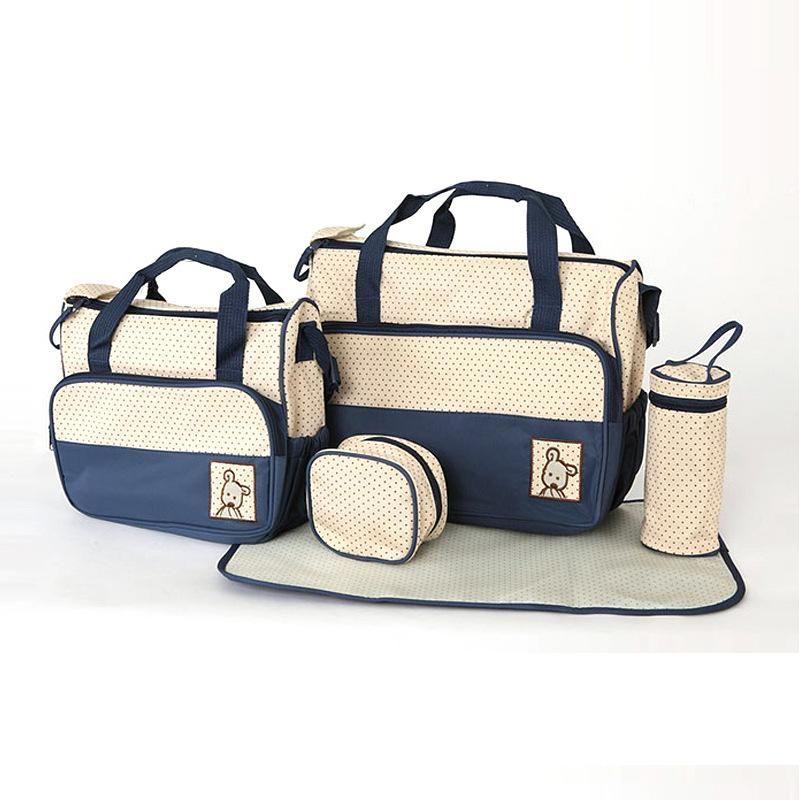5-Piece Messenger Pram Bag Large Multifuntional Mummy Baby Changing Bags Navy