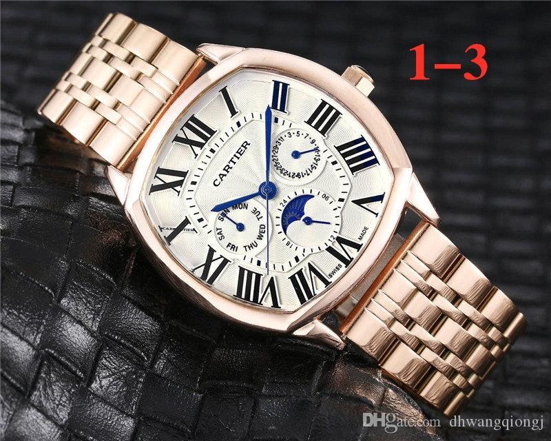 Heißes Selling Top Luxus New SteelMeshLeather klassische Mens-Armbanduhr-Mann-Uhr Top Design Marken Index Dial Arbeit Male Moderne Uhren
