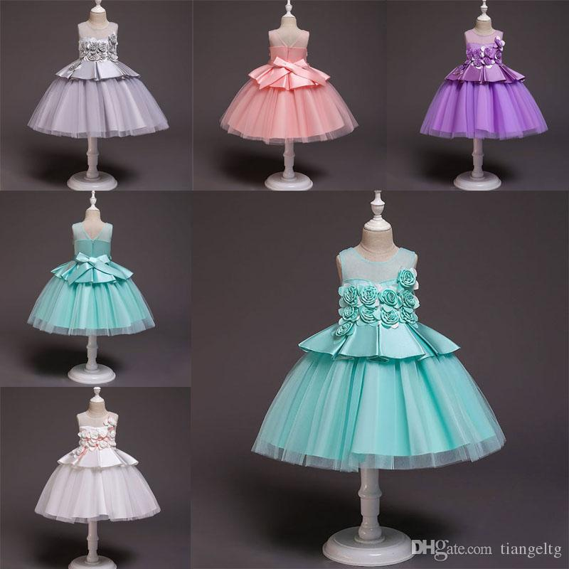 Kids Girls Dresses Solid 5 Color Evening Gown Bow Tie Lace Dress Invisible Zipper Mesh Dress Girls Party Peform 3-9T