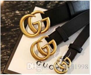 2020 fashion men's and women's belt specification: 2.0, 3.0, 3.4, 3.8cm long, 105-125cm buckle head, gold belt, black body