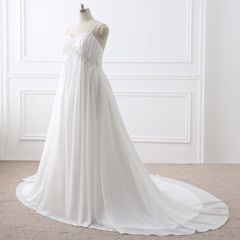 A Line White/Ivory Wedding Dress Plus Size Chiffon Pregnant Bridal Gowns Custom Plus Size Lace Up Back Formal Occasion