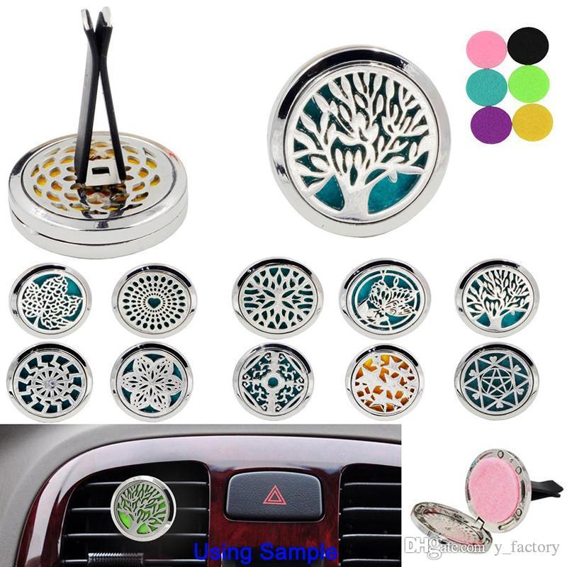 2019 Car Aromatherapy Essential Oil Diffuser Stainless Steel Locket Air Freshener with Vent Clip 5 Felt Pads