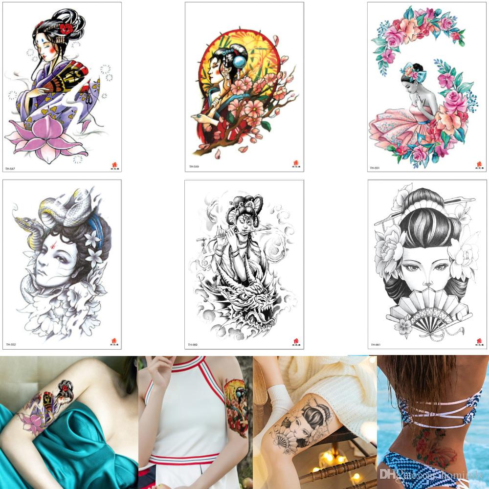 Beauty Women Tattoo Sticker Waterproof Tenporary Classical Geisha Snake Lady Ballerina Decal Body Tattoo Designs Cool Colored Drawing Person