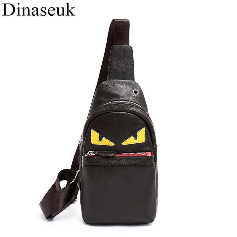 Fashion Men Chest Bag PU Leather Casual Sling Crossbody Bag Multipurpose Travel Phone Black Anime Cartoon Shoulder  New