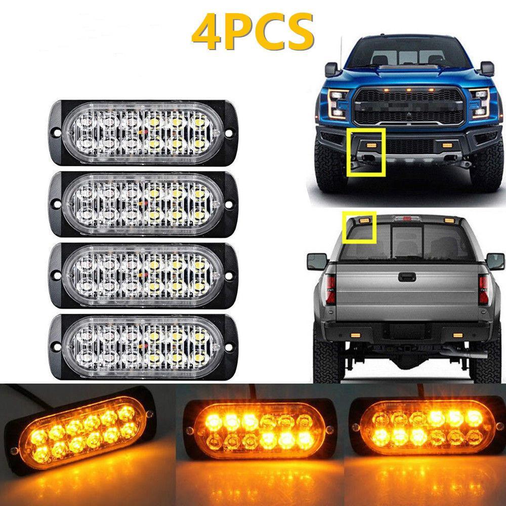 4 개 초박형 LED 높은 전원 36W 조명 (12) LED 차 트럭 비상 사이드 스트로브 경고 빛