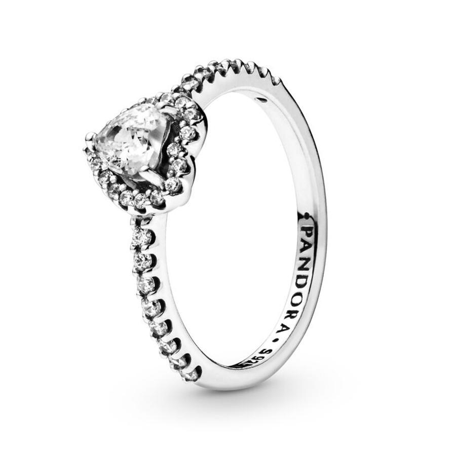 925 فضة المرتفعة قلب خاتم زفاف فاخر مصمم مجوهرات للنساء CZ احجار الماس خواتم الخطبة مع صندوق باندورا الأصل