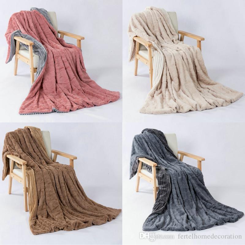 جديدة مثل الأرنب وصول الفانيلا الصوف بطانية مزدوجة طبقة سميكة بطانية دافئة كرسي الرئيسية صوفا المخملية غطاء