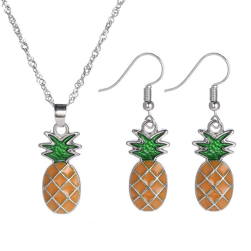 Sıcak Mücevherat Meyve Ananas Modelleme Boyalı Parlak Yüzey Kolye Küpe Takı Takım Yaka Kemik Zincir Of 45 Cm