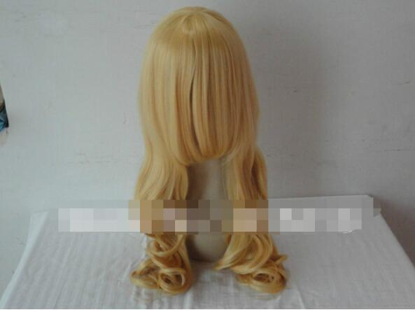 무료 배송 + + 새로운 여성 골든 긴 웨이브 곱슬 코스프레 가발 머리카락