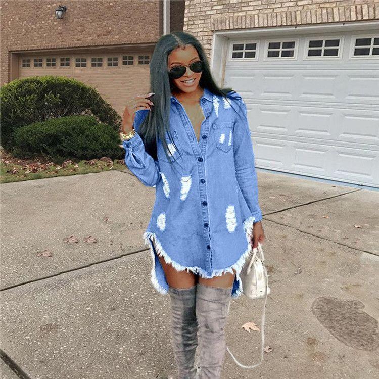 la manga larga barata vuelta abajo a mujeres del collar de hiphop de mezclilla azul mezclilla camisa de vestir otoño del resorte pantalones rotos borla vestidos irregulares