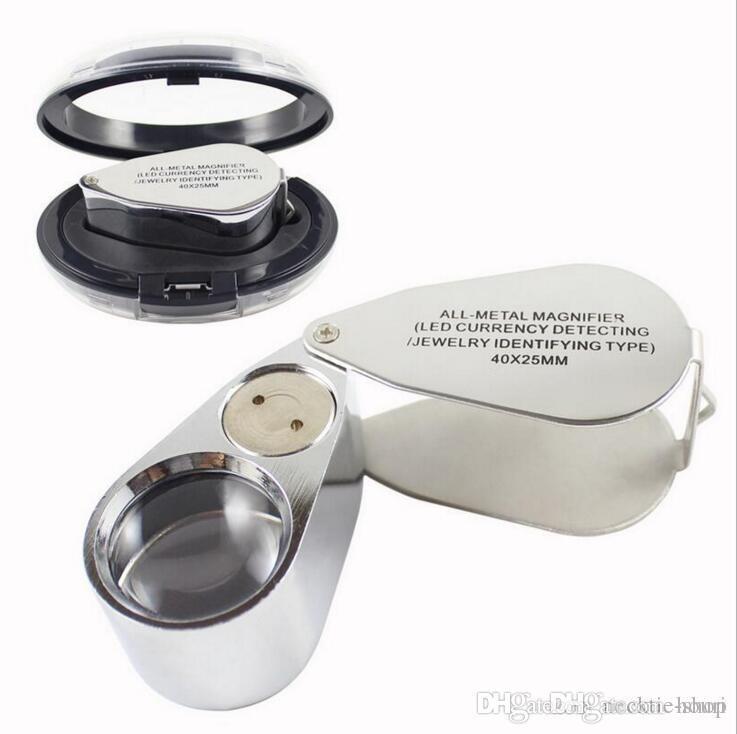 Vendita calda di riparazione della vigilanza strumento di metallo LED del gioielliere del Magnifier del microscopio Lente d'ingrandimento Loupe luce UV con scatola di plastica 40X 25 millimetri