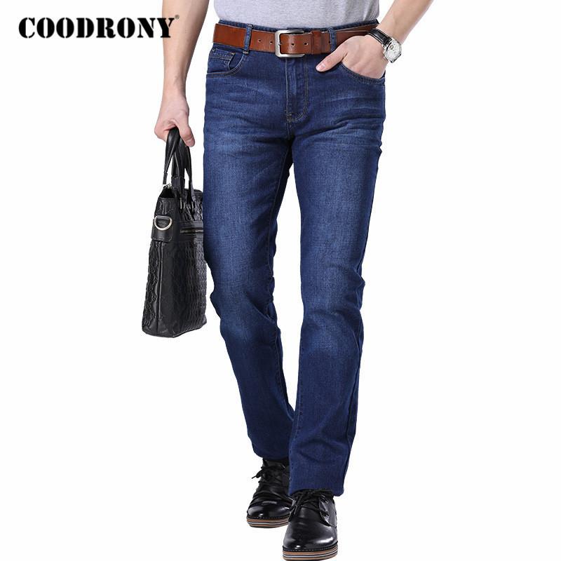 COODRONY Markemens Jeans Street Geschäft beiläufige gerade Hosen Frühling und Herbst-Qualitäts-Jeanshosen Herren Bekleidung C9002