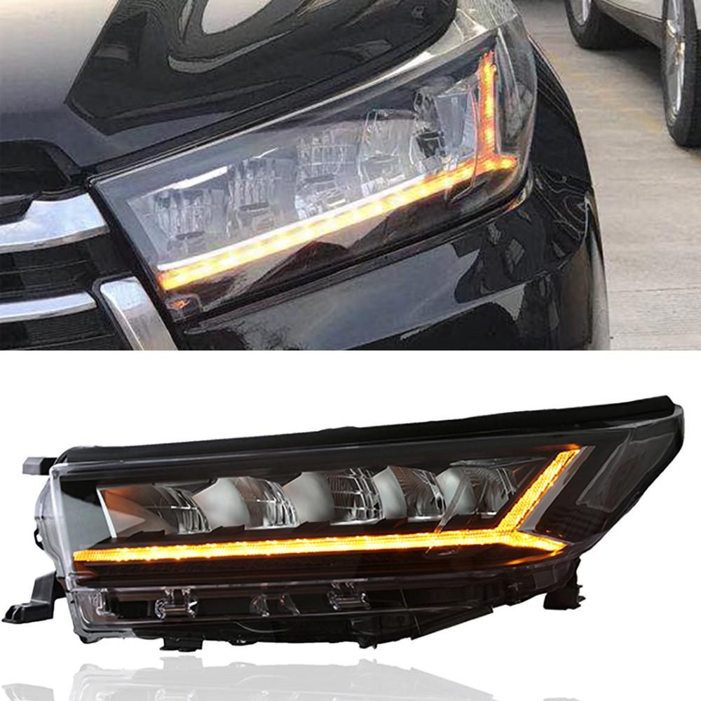 1 пара автомобилей Стайлинг ALL LED фара для Toyota Highlander Kluger 2018 года сигнал поворота LED DRL Dynamic Противотуманные фонари дневного света