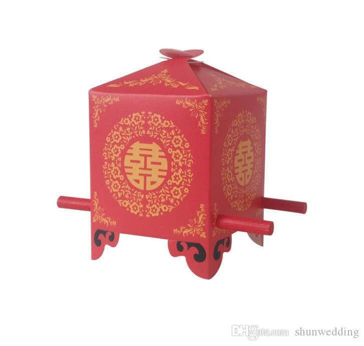 Chinese Asian Style Red Double Happiness Sedan Chair Wedding favor holder party gift candy box 50PCS/LOT