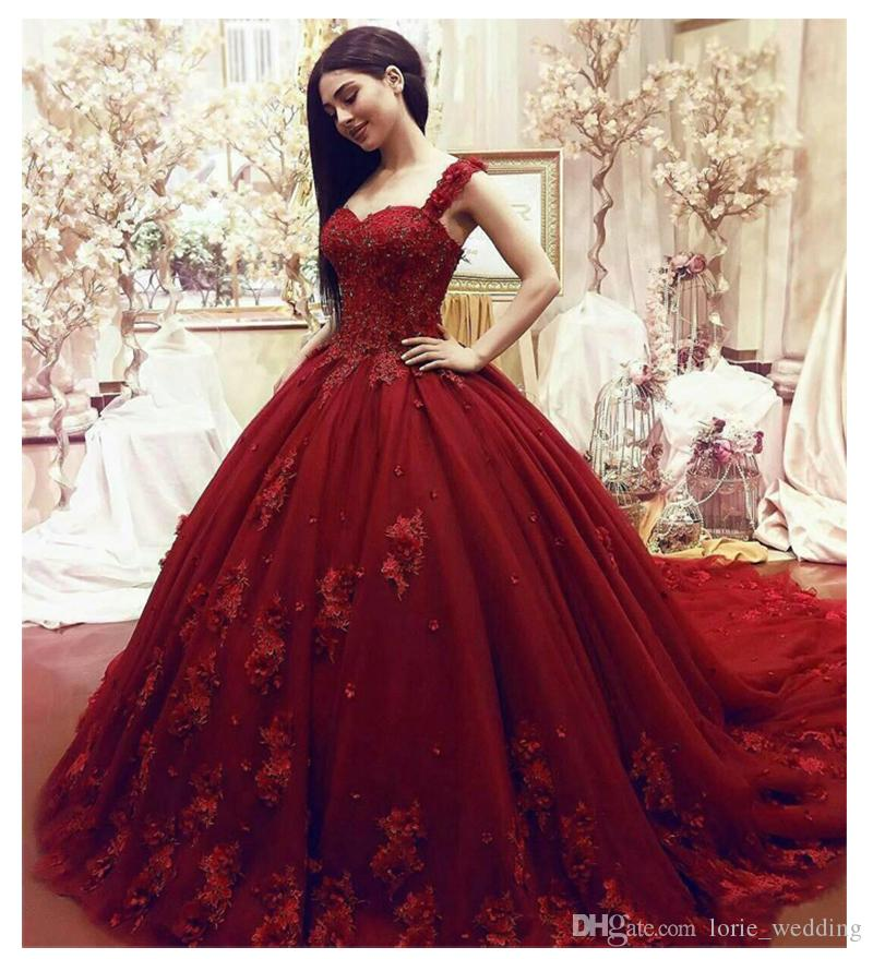 2019 Sexy Straps Red Wedding Dress Ball Gowns Beaded Appliques Sleeveless  Wedding Bride Gowns Custom Made Elegant Wedding Gowns For Bride Designer