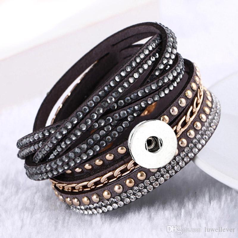 Bling Bling austauschbar 081 Kristall Strass Korean Samt Armband 18mm Druckknopf Schmuck Charm Armband für Frauen Geschenk