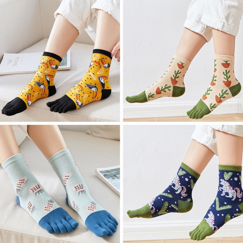 Five Finger Socks Men Cotton Middle Tube Socks Medium Colorful Crew Toe