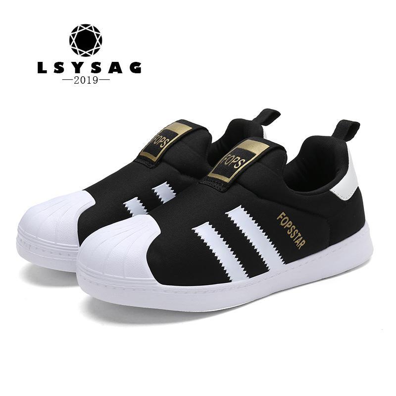 Lsysag Kinderschuhe Freizeitschuhe Kinderschuhe Flattie Sneakers Kleiner Fuß Chaussure Enfant Star Styles Muschelkopf Flat A Pedal Y190523