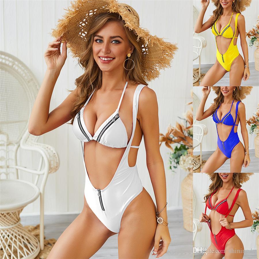 Lady deux pièces sépare Slim sports nautiques femme combinaison de natation couleur unie fermeture à glissière de bain porter des bretelles spaghetti bikini hauts