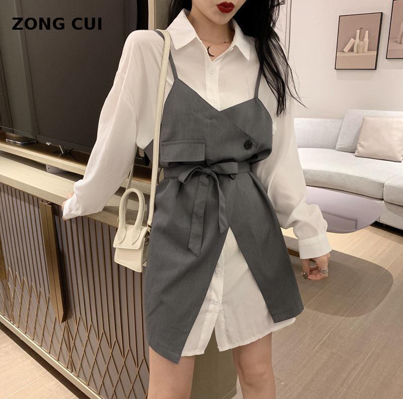 Frauen Kleid set 2 Stücke süße 2 Stücke lange weißes Hemd + unregelmäßige Schultergurt Mini Anzug koreanische Straße Hemd Rock
