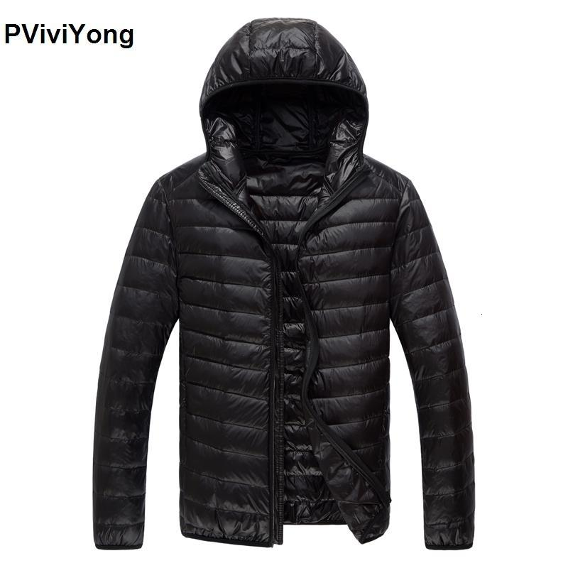 PViviYong 2019 зима Новый высокое качество тонкий пуховик мужская пальто с капюшоном белая утка пуховик плюс размер парки 779 CJ191129
