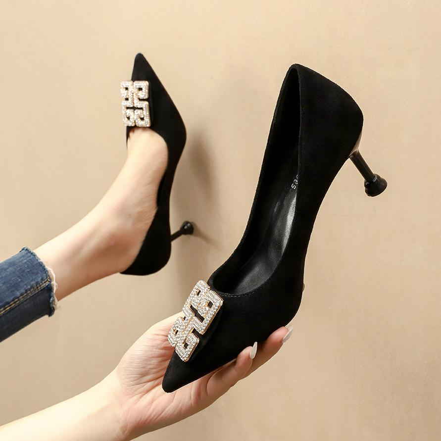New women single shoes fashion diamond pointed high-heeled suede 6.5cm 9.5cm thin heels dress shoes large size 35-42