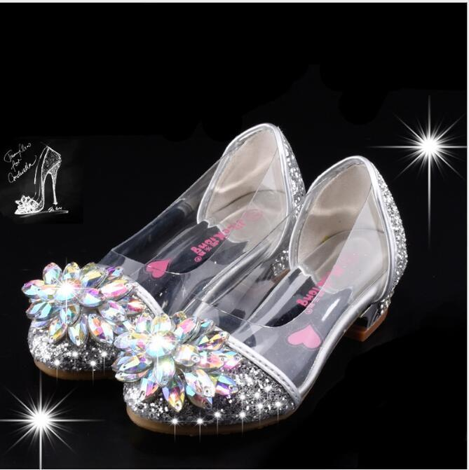 Fashion Cinderella Crystal Bright Diamond Shoes Girl Princess Single Shoes Girl Performance High Heels Shoes Y19051403