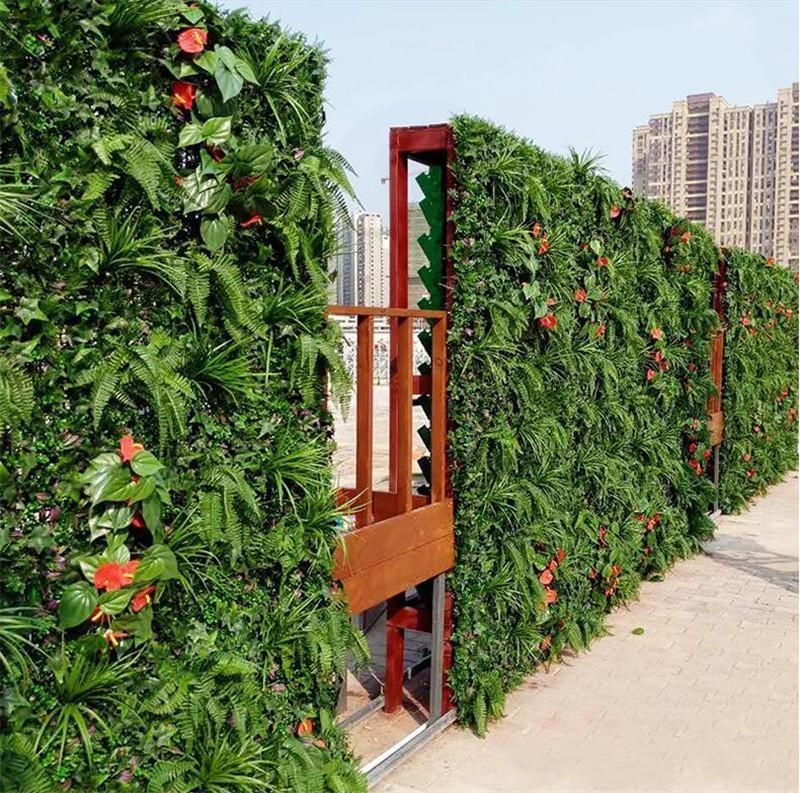 60 سنتيمتر x 40 سنتيمتر البيئة العشب الاصطناعي محاكاة الجدار الحجارة في الهواء الطلق اللبلاب السياج بوش النباتات للمنزل حديقة الجدار الديكور