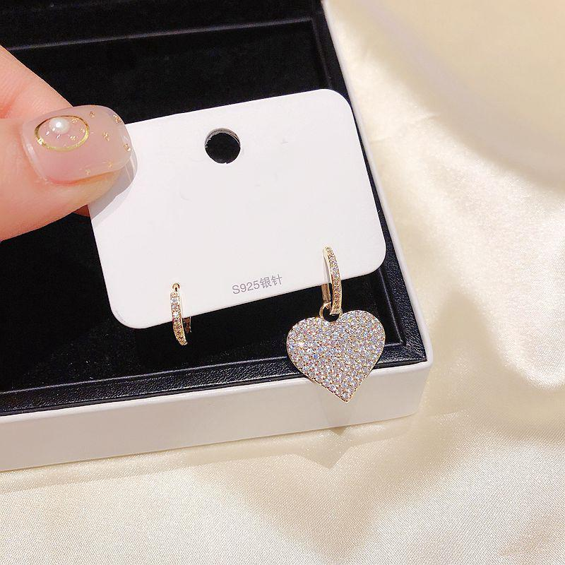 MIGGA CZ Crystal Heart Earrings Gold Color Asymmetric Cubic Zirconia Drop Earrings for Women