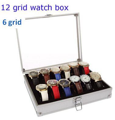 Watch Storage Box Aluminum Watches Bin Jewelry Display Organizer With Acrylic Window Watch Holder 6 Grid 12 Grid