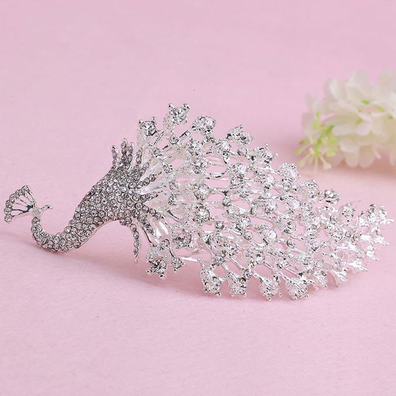 Chinese Silver Crystal Rhinestone Peacock Women Barrettes Hair Comb Headpiece Tiaras Bridal Wedding Hair Jewelry Accessories SL