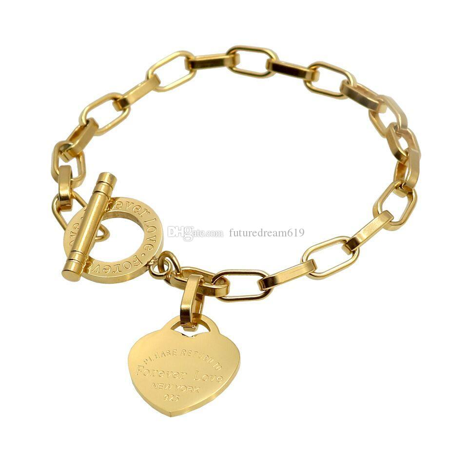 Luxury Jewelry love T Bracelet & Bangle Pulseira Stainless Steel Rose Gold Plated Heart Forever Love Tag Bangle Jewelry For Women