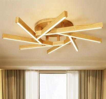Personalidade levou teto Iluminação simples Estudo moderna Sala de jantar Quarto de iluminação criativa madeira maciça Sala de Iluminação Llfa