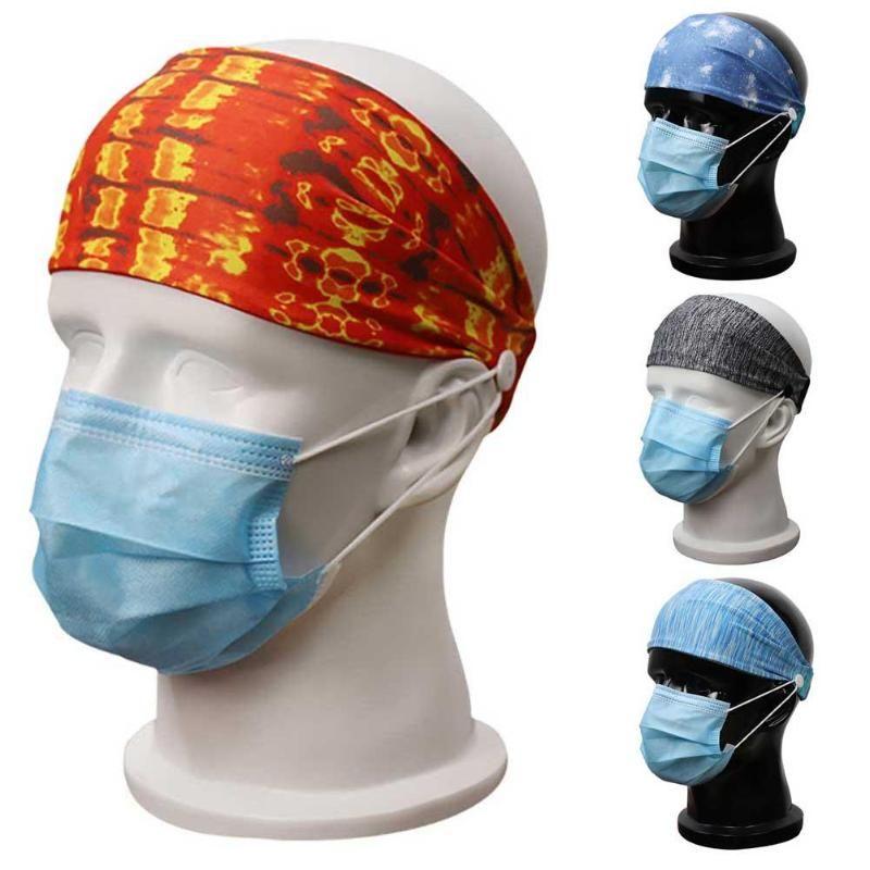 Sports de plein air unisexe respirant Bandeau Yoga élastique avec le bouton Bandeau anti-dérapant pour le masque de suspension anti-laisse bande de cheveux