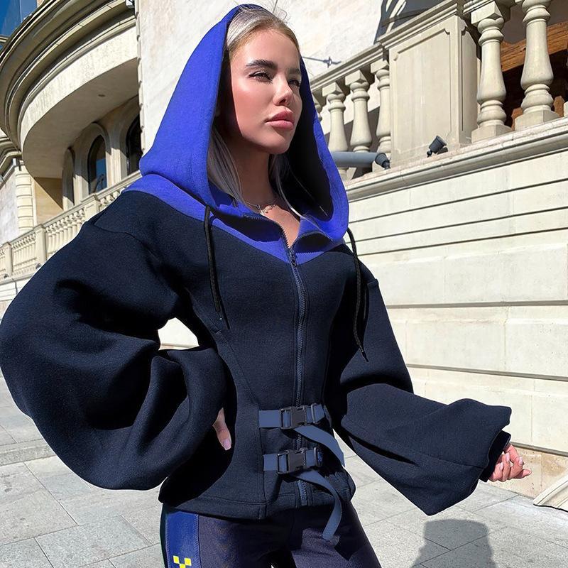 FOTOS REAIS 2020 bolsa escola desenhador das mulheres novas fivela superior zíper cor contraste lanterna manga com capuz hoodies streetwear atacado