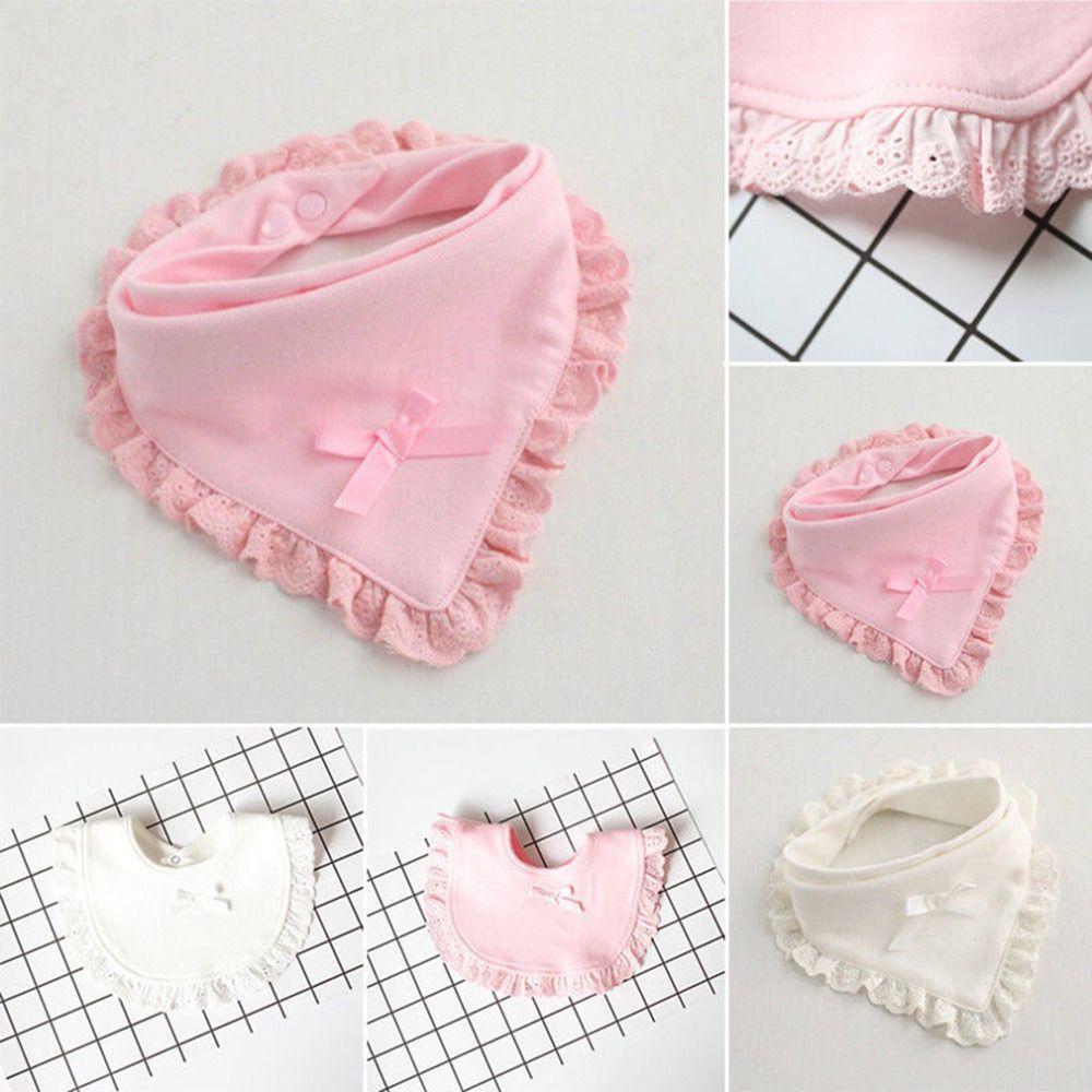 Muticolor الطفل المرايل تجشؤ 100 ٪ القطن الدانتيل القوس الوردي والأبيض مريلة الطفل بنات جميل لطيف مريلة الرضع اللعاب المناشف