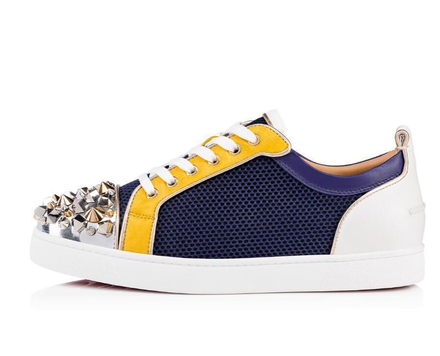 Scarpe in pelle piatto Skate Red casual fondo delle scarpe da tennis Junior borchie Tony piatto Spikes Uomo Spikes Orlato Rivetti Sneaker Junior Mix Strass C04