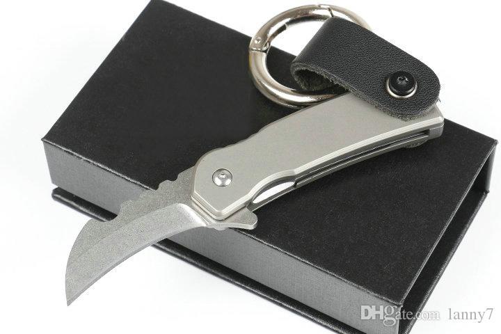 Satılık! DHL Kargo yeni Mini küçük Karambit pençe Katlanır bıçak D2 taş yıkama bıçak TC4 Titanyum Alaşım kolu ile onarım araçları